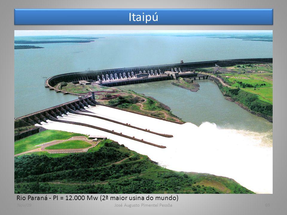 Itaipú Nov/09José Augusto Pimentel Pessôa69 Rio Paraná - PI = 12.000 Mw (2ª maior usina do mundo)