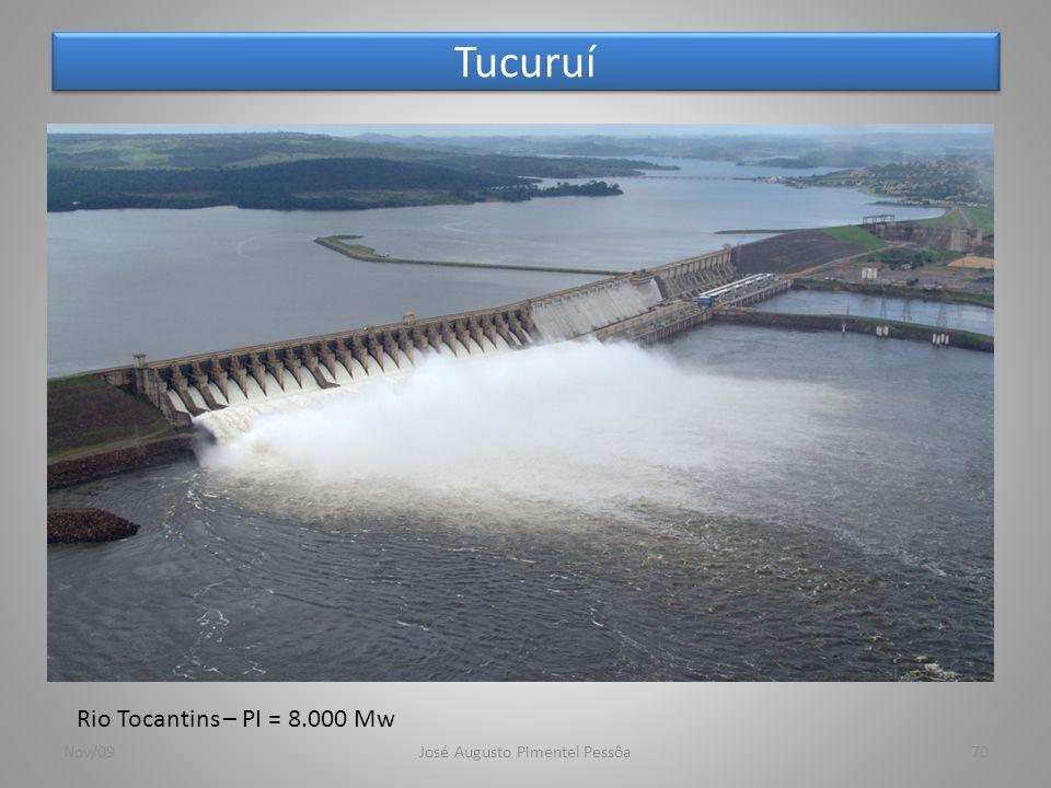 Tucuruí Nov/09José Augusto Pimentel Pessôa70 Rio Tocantins – PI = 8.000 Mw