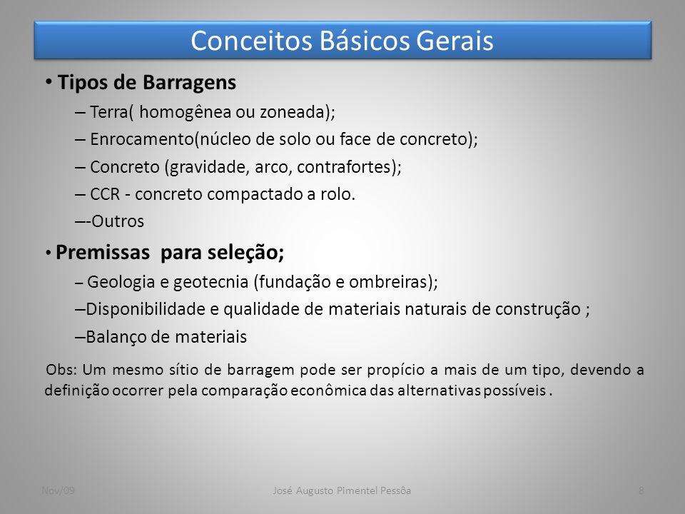 Conceitos Básicos Gerais 8 Tipos de Barragens – Terra( homogênea ou zoneada); – Enrocamento(núcleo de solo ou face de concreto); – Concreto (gravidade