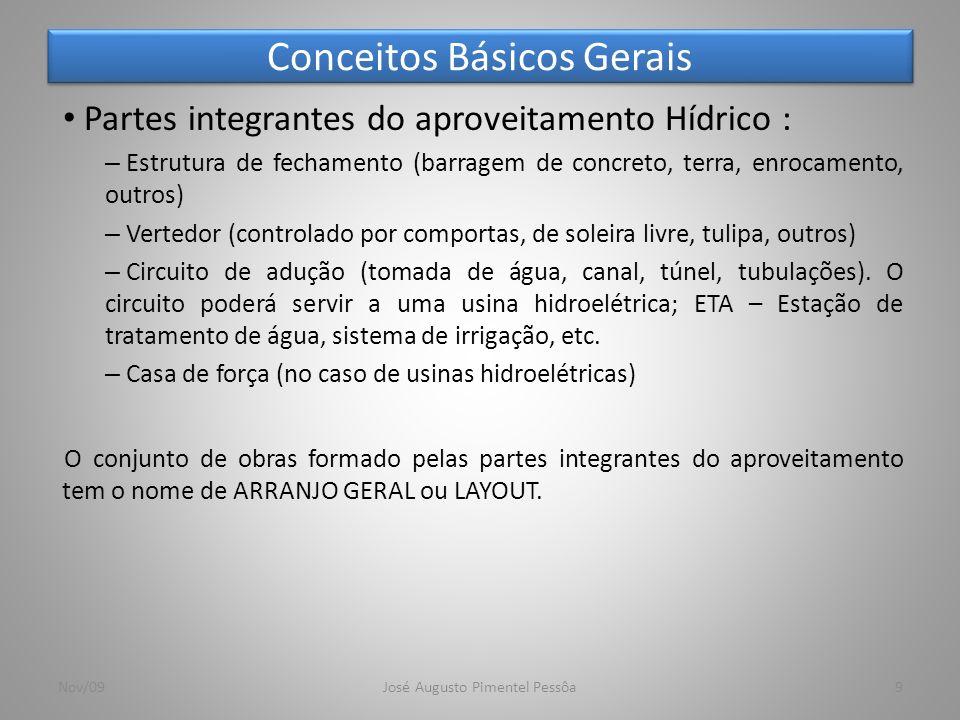 Conceitos Básicos Gerais 9 Partes integrantes do aproveitamento Hídrico : – Estrutura de fechamento (barragem de concreto, terra, enrocamento, outros)