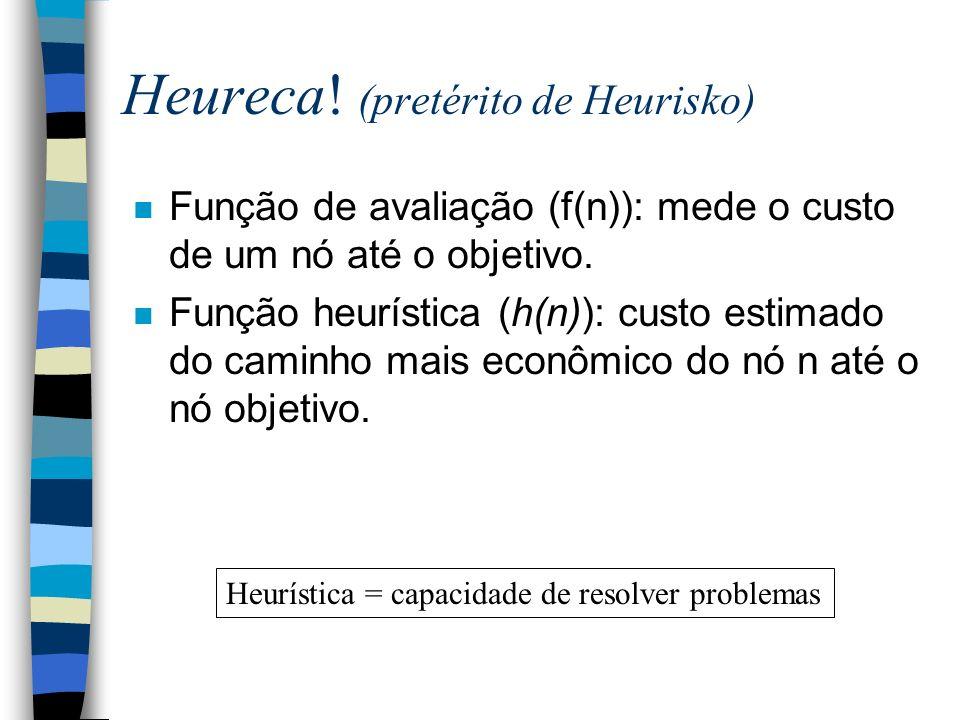 Heureca! (pretérito de Heurisko) n Função de avaliação (f(n)): mede o custo de um nó até o objetivo. n Função heurística (h(n)): custo estimado do cam