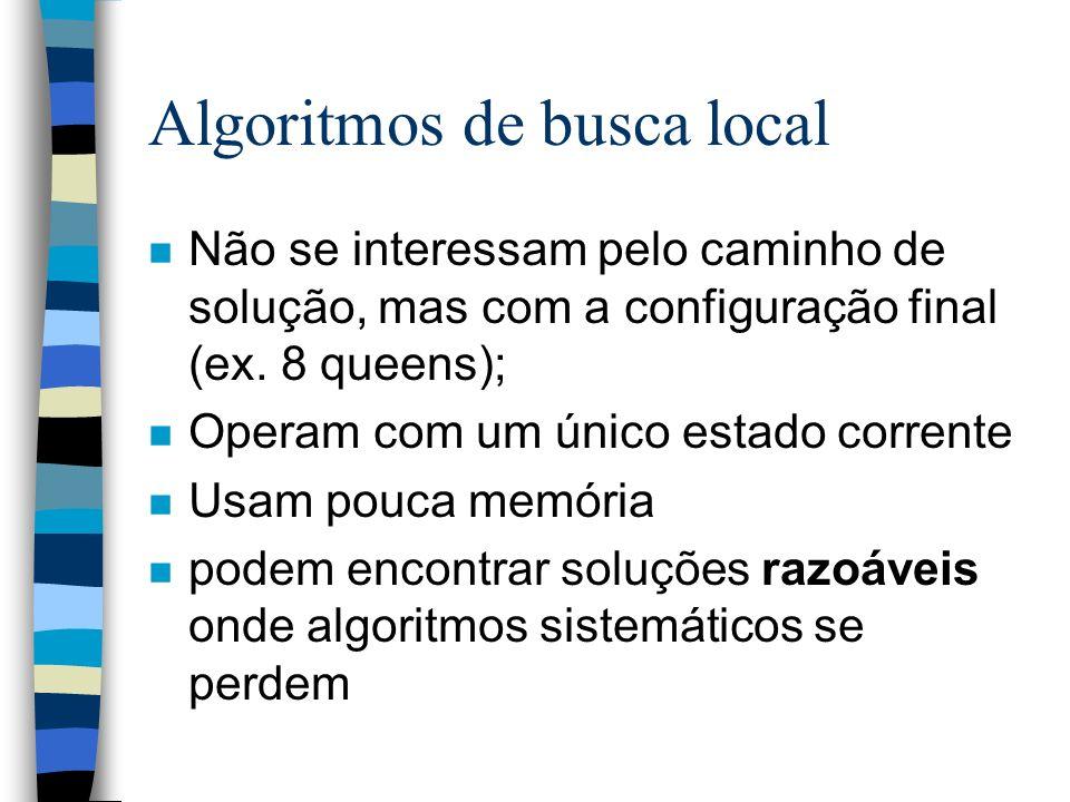 n Não se interessam pelo caminho de solução, mas com a configuração final (ex. 8 queens); n Operam com um único estado corrente n Usam pouca memória n