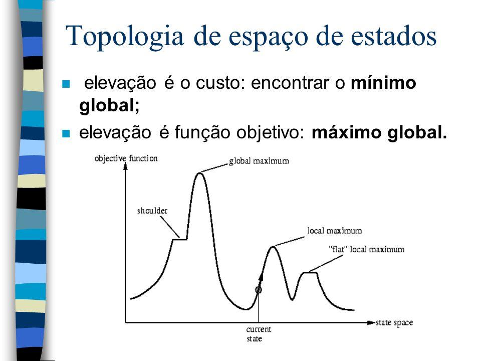 Topologia de espaço de estados n elevação é o custo: encontrar o mínimo global; n elevação é função objetivo: máximo global.