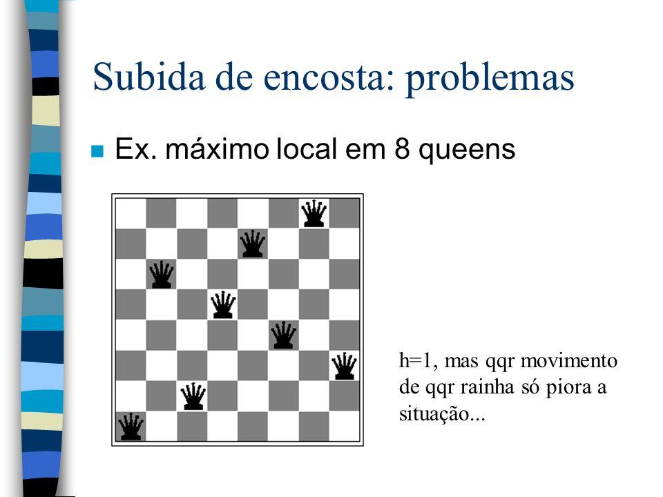 Subida de encosta: problemas n Ex. máximo local em 8 queens h=1, mas qqr movimento de qqr rainha só piora a situação...