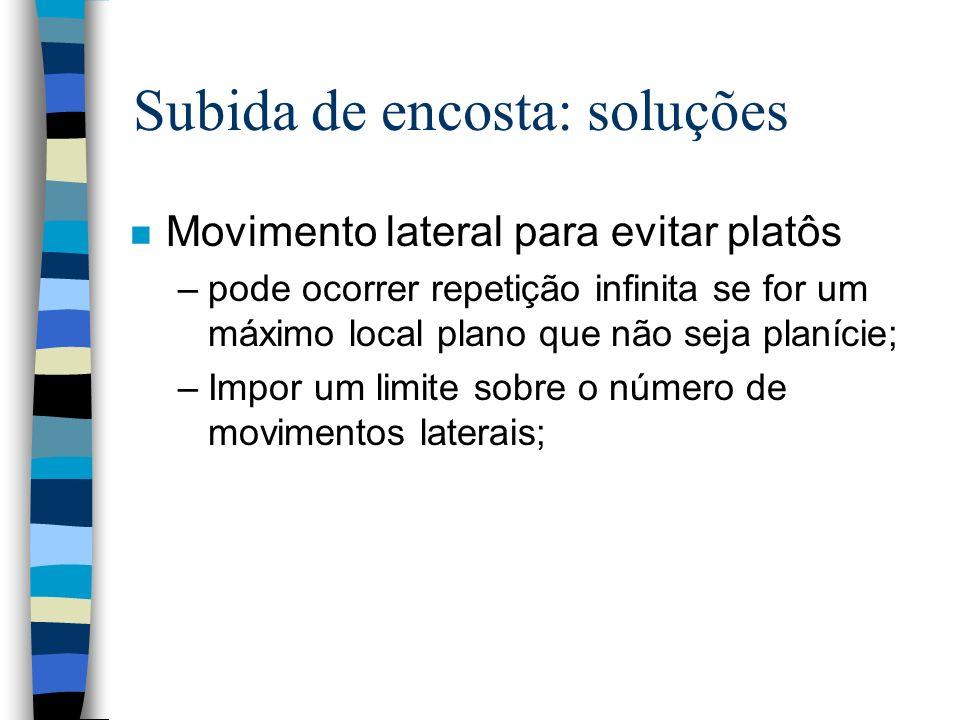 Subida de encosta: soluções n Movimento lateral para evitar platôs –pode ocorrer repetição infinita se for um máximo local plano que não seja planície