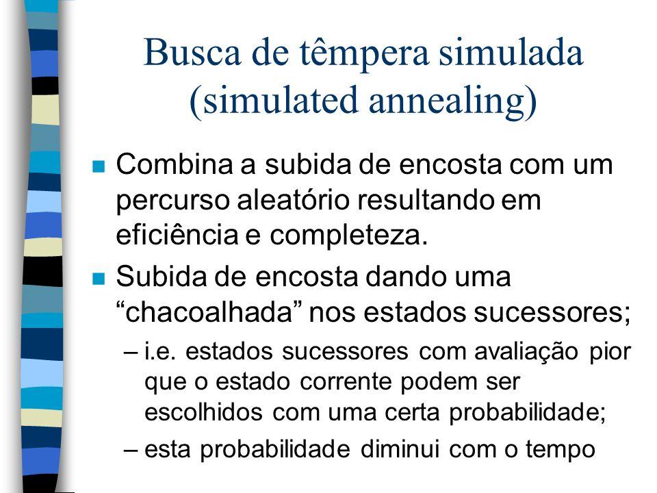 Busca de têmpera simulada (simulated annealing) n Combina a subida de encosta com um percurso aleatório resultando em eficiência e completeza. n Subid