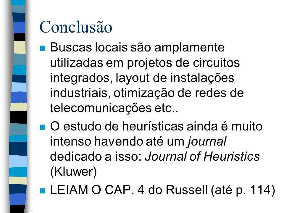 Conclusão n Buscas locais são amplamente utilizadas em projetos de circuitos integrados, layout de instalações industriais, otimização de redes de tel