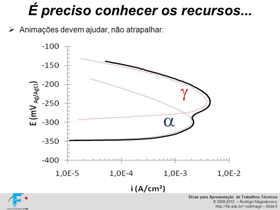 Dicas para Apresentação de Trabalhos Técnicos © 2008-2012 – Rodrigo Magnabosco http://fei.edu.br/~rodrmagn – Slide 9 Animações devem ajudar, não atrap