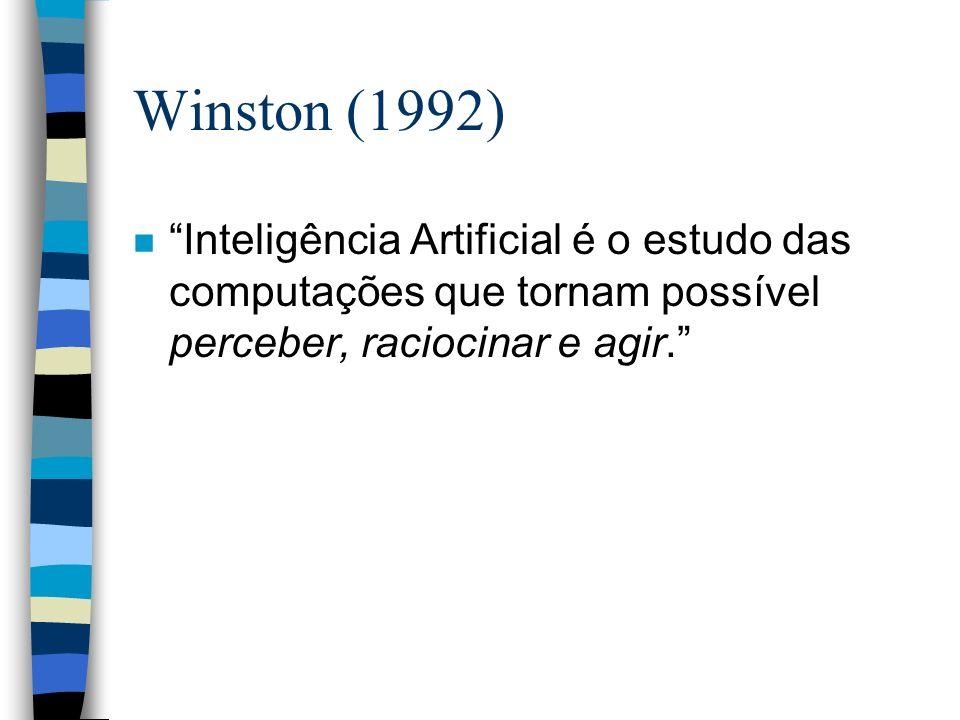 Winston (1992) n Inteligência Artificial é o estudo das computações que tornam possível perceber, raciocinar e agir.