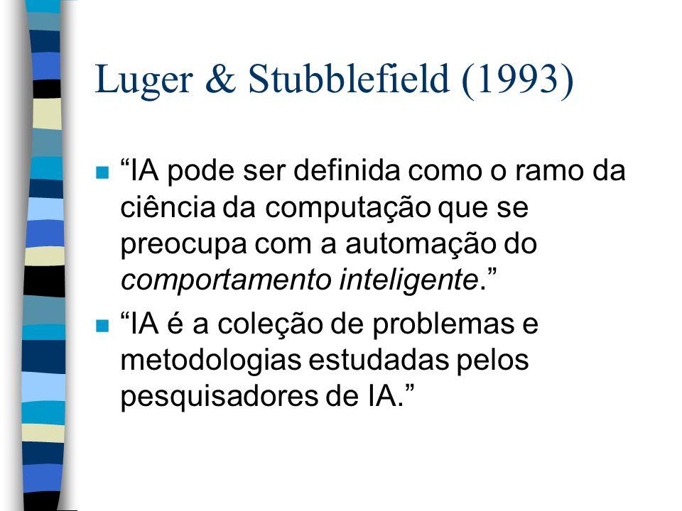 Luger & Stubblefield (1993) n IA pode ser definida como o ramo da ciência da computação que se preocupa com a automação do comportamento inteligente.