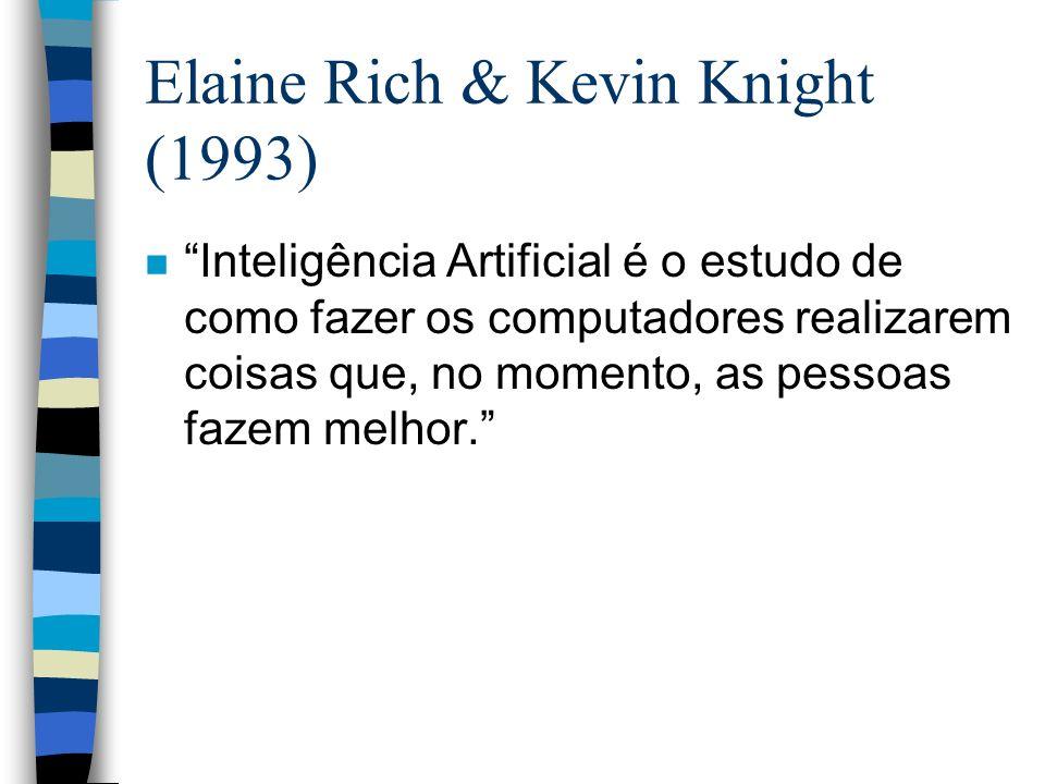 Elaine Rich & Kevin Knight (1993) n Inteligência Artificial é o estudo de como fazer os computadores realizarem coisas que, no momento, as pessoas faz