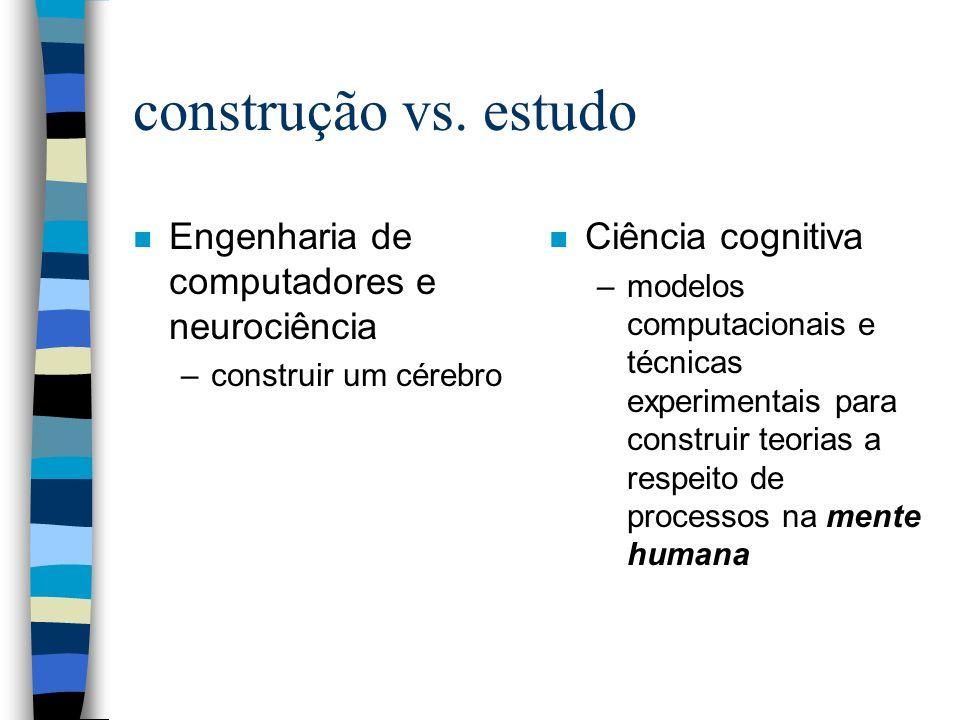 construção vs. estudo n Engenharia de computadores e neurociência –construir um cérebro n Ciência cognitiva –modelos computacionais e técnicas experim