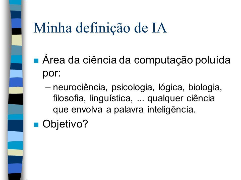 Minha definição de IA n Área da ciência da computação poluída por: –neurociência, psicologia, lógica, biologia, filosofia, linguística,... qualquer ci