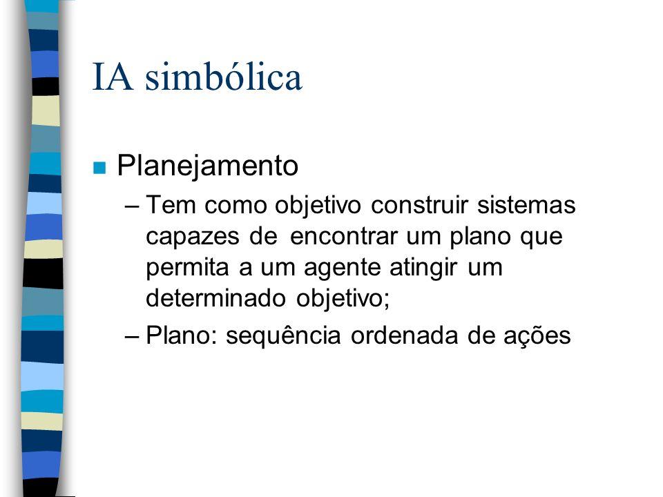 IA simbólica n Planejamento –Tem como objetivo construir sistemas capazes de encontrar um plano que permita a um agente atingir um determinado objetiv