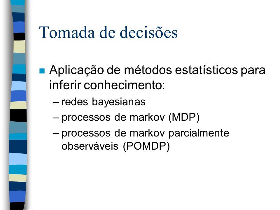 Tomada de decisões n Aplicação de métodos estatísticos para inferir conhecimento: –redes bayesianas –processos de markov (MDP) –processos de markov pa