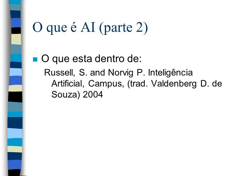 O que é AI (parte 2) n O que esta dentro de: Russell, S. and Norvig P. Inteligência Artificial, Campus, (trad. Valdenberg D. de Souza) 2004
