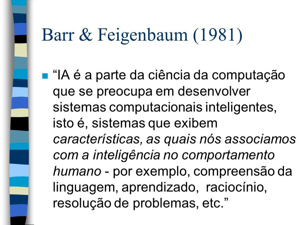Barr & Feigenbaum (1981) n IA é a parte da ciência da computação que se preocupa em desenvolver sistemas computacionais inteligentes, isto é, sistemas