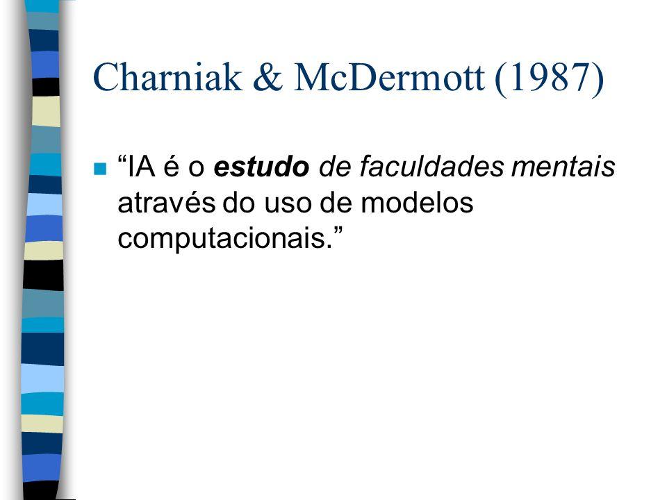 Charniak & McDermott (1987) n IA é o estudo de faculdades mentais através do uso de modelos computacionais.