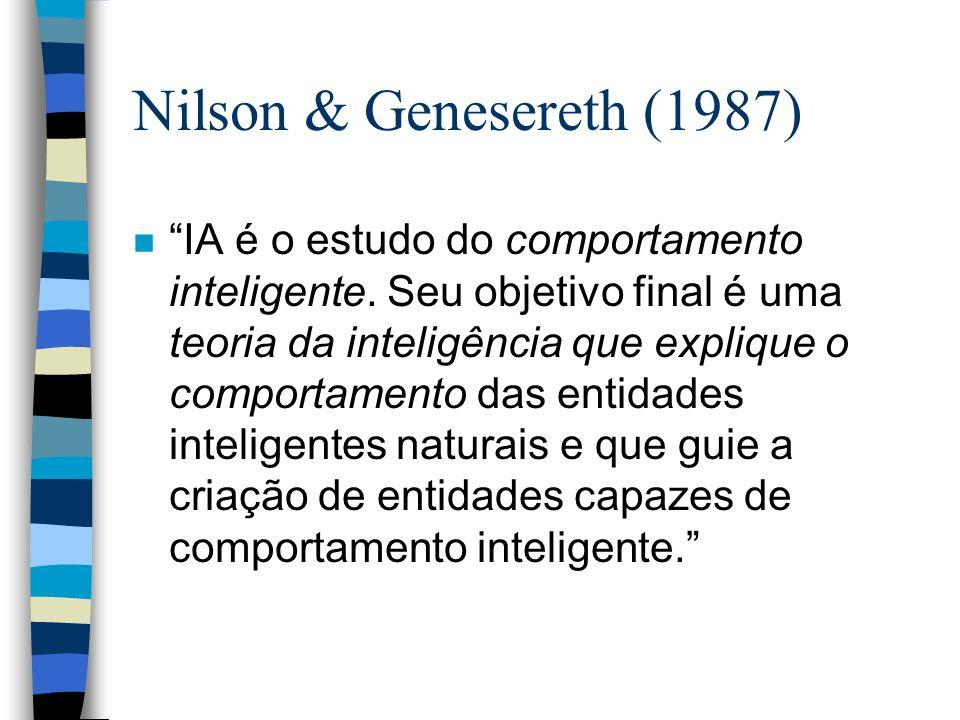 Nilson & Genesereth (1987) n IA é o estudo do comportamento inteligente. Seu objetivo final é uma teoria da inteligência que explique o comportamento