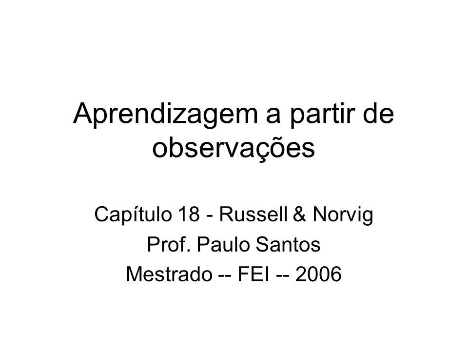 Aprendizagem a partir de observações Capítulo 18 - Russell & Norvig Prof. Paulo Santos Mestrado -- FEI -- 2006