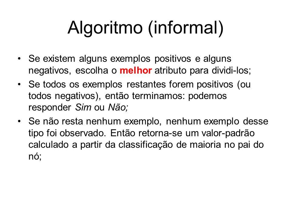Algoritmo (informal) Se existem alguns exemplos positivos e alguns negativos, escolha o melhor atributo para dividi-los; Se todos os exemplos restante