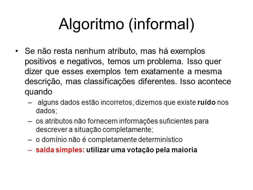 Algoritmo (informal) Se não resta nenhum atributo, mas há exemplos positivos e negativos, temos um problema. Isso quer dizer que esses exemplos tem ex