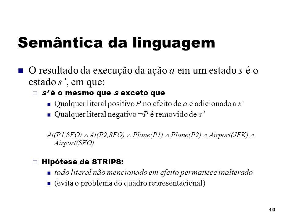 10 Semântica da linguagem O resultado da execução da ação a em um estado s é o estado s, em que: s é o mesmo que s exceto que Qualquer literal positiv