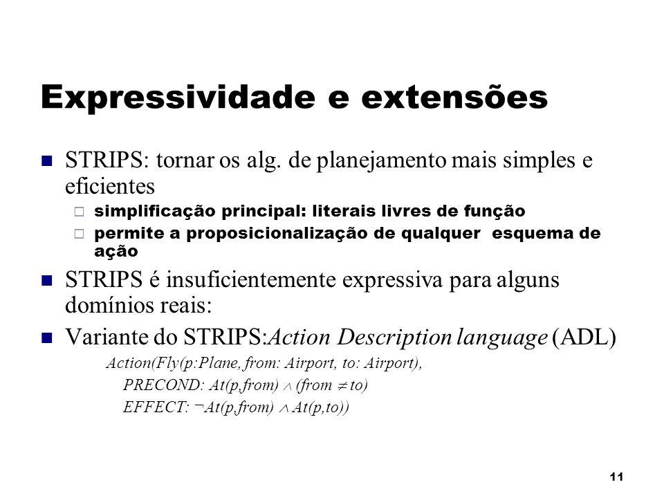 11 Expressividade e extensões STRIPS: tornar os alg. de planejamento mais simples e eficientes simplificação principal: literais livres de função perm