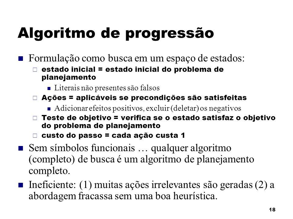 18 Algoritmo de progressão Formulação como busca em um espaço de estados: estado inicial = estado inicial do problema de planejamento Literais não pre