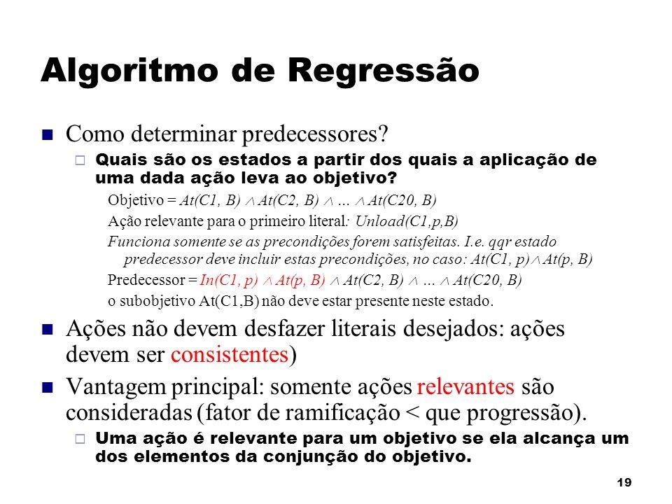 19 Algoritmo de Regressão Como determinar predecessores? Quais são os estados a partir dos quais a aplicação de uma dada ação leva ao objetivo? Objeti