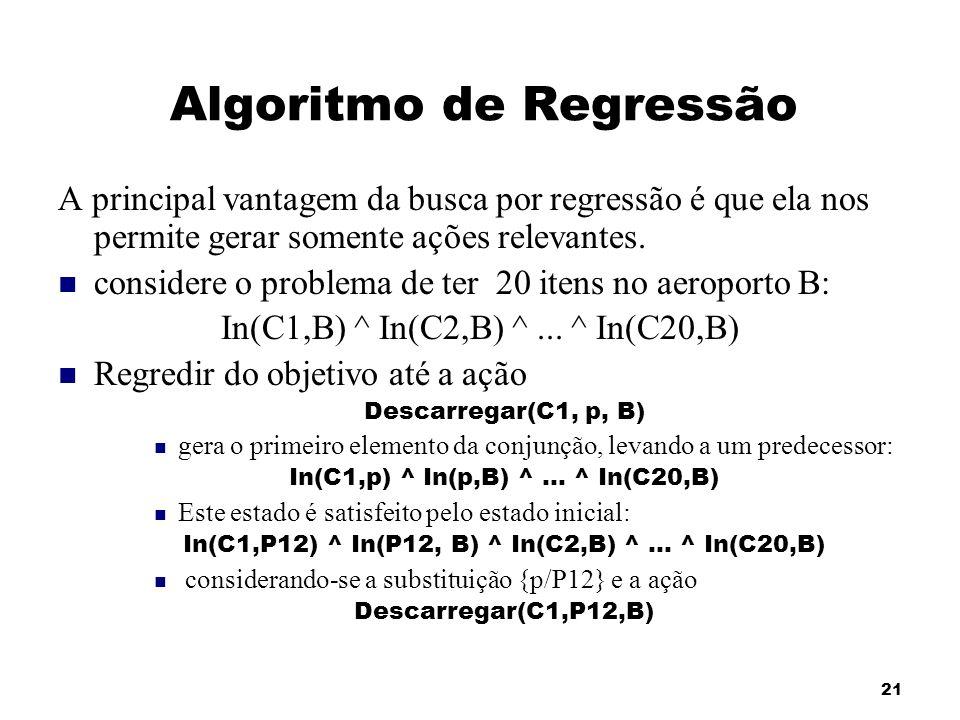 21 Algoritmo de Regressão A principal vantagem da busca por regressão é que ela nos permite gerar somente ações relevantes. considere o problema de te