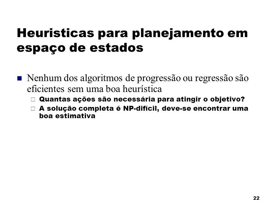 22 Heuristicas para planejamento em espaço de estados Nenhum dos algoritmos de progressão ou regressão são eficientes sem uma boa heurística Quantas a