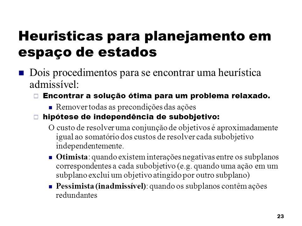 23 Heuristicas para planejamento em espaço de estados Dois procedimentos para se encontrar uma heurística admissível: Encontrar a solução ótima para u