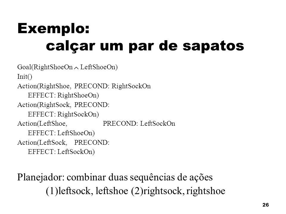 26 Exemplo: calçar um par de sapatos Goal(RightShoeOn LeftShoeOn) Init() Action(RightShoe,PRECOND: RightSockOn EFFECT: RightShoeOn) Action(RightSock,P