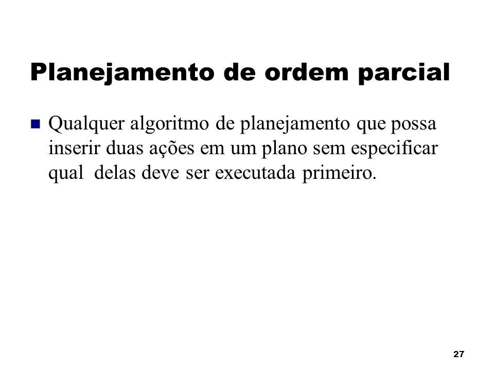 27 Planejamento de ordem parcial Qualquer algoritmo de planejamento que possa inserir duas ações em um plano sem especificar qual delas deve ser execu