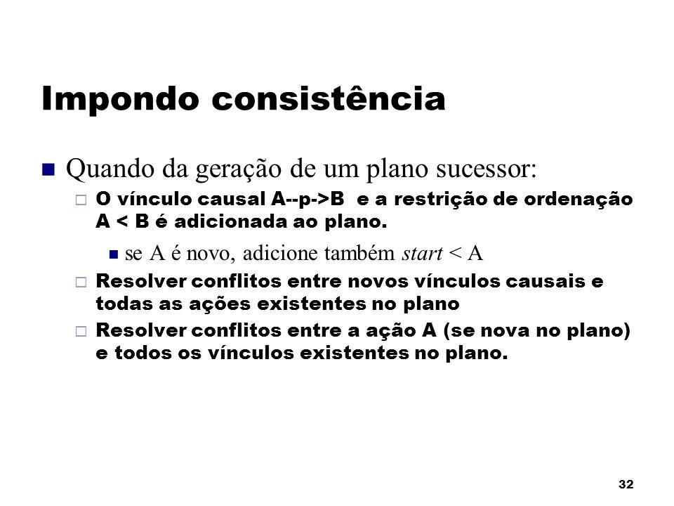 32 Impondo consistência Quando da geração de um plano sucessor: O vínculo causal A--p->B e a restrição de ordenação A < B é adicionada ao plano. se A