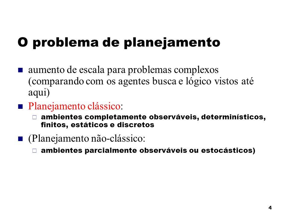 4 O problema de planejamento aumento de escala para problemas complexos (comparando com os agentes busca e lógico vistos até aqui) Planejamento clássi