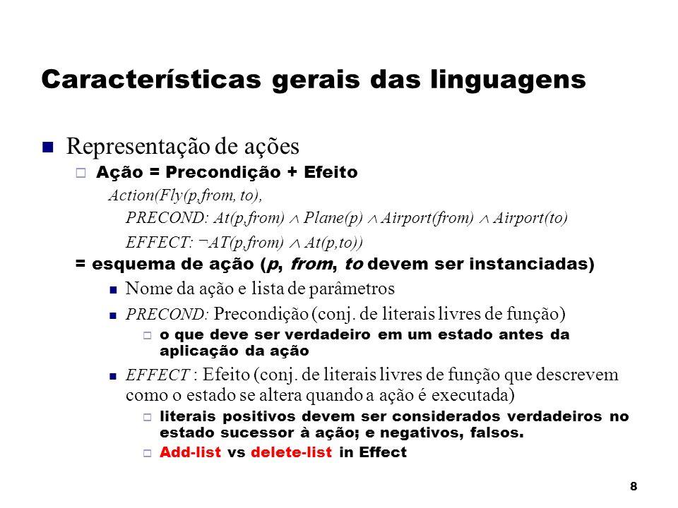 8 Características gerais das linguagens Representação de ações Ação = Precondição + Efeito Action(Fly(p,from, to), PRECOND: At(p,from) Plane(p) Airpor