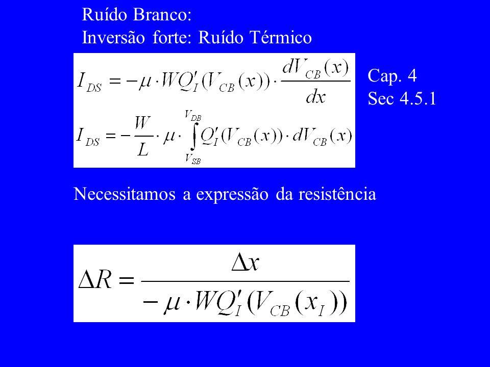 Ruído Branco: Inversão forte: Ruído Térmico Cap. 4 Sec 4.5.1 Necessitamos a expressão da resistência