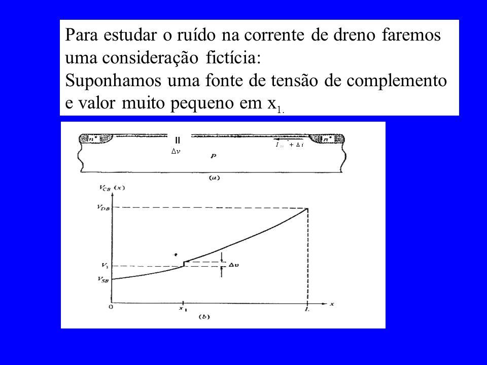 Para estudar o ruído na corrente de dreno faremos uma consideração fictícia: Suponhamos uma fonte de tensão de complemento e valor muito pequeno em x