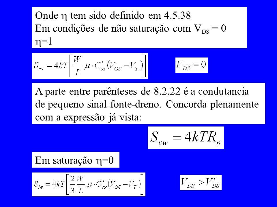 Onde tem sido definido em 4.5.38 Em condições de não saturação com V DS = 0 =1 A parte entre parênteses de 8.2.22 é a condutancia de pequeno sinal fon