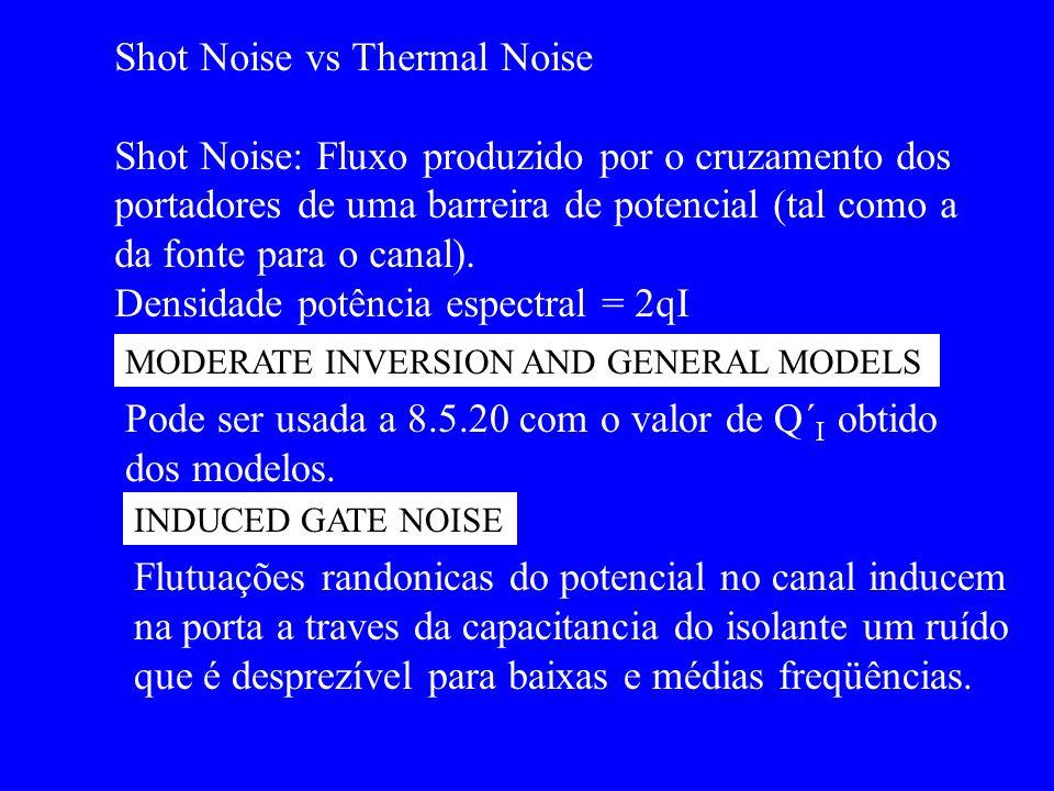 MODERATE INVERSION AND GENERAL MODELS INDUCED GATE NOISE Shot Noise vs Thermal Noise Shot Noise: Fluxo produzido por o cruzamento dos portadores de um