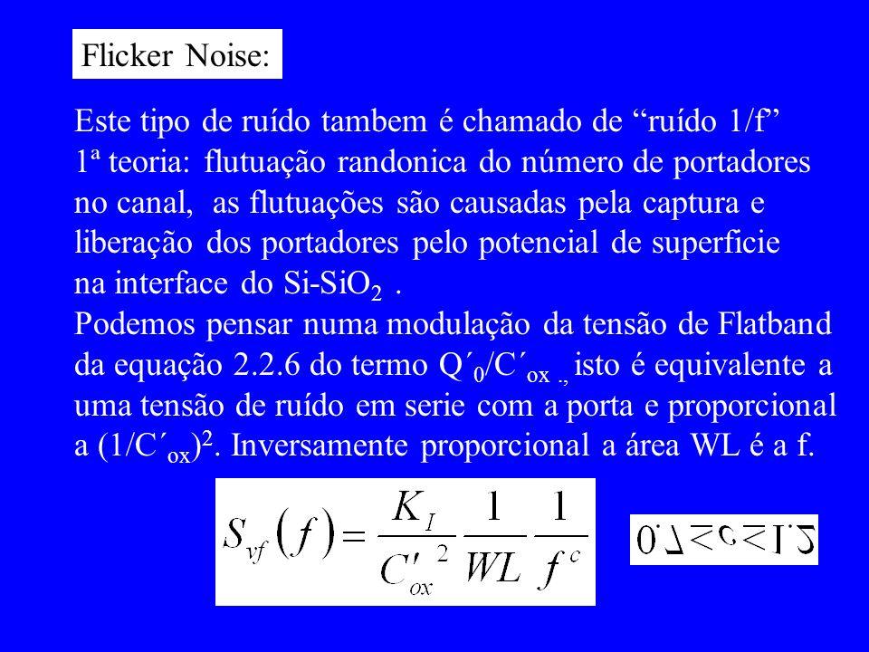 Flicker Noise: Este tipo de ruído tambem é chamado de ruído 1/f 1ª teoria: flutuação randonica do número de portadores no canal, as flutuações são cau