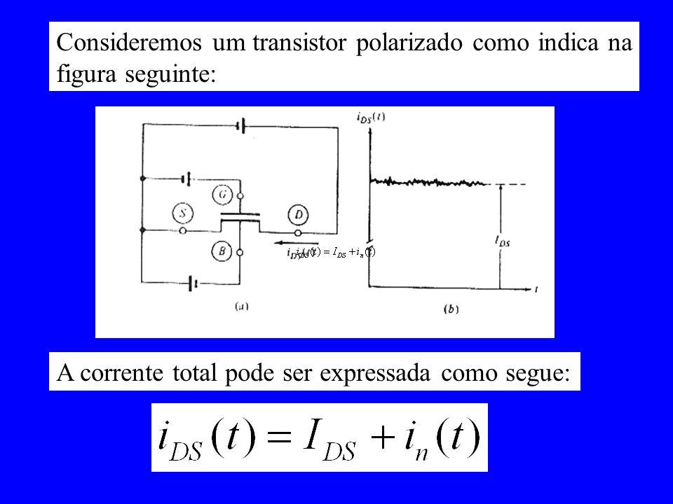 Consideremos um transistor polarizado como indica na figura seguinte: A corrente total pode ser expressada como segue:
