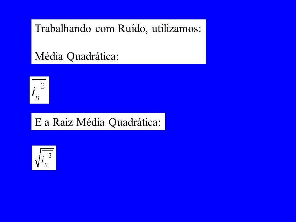 Trabalhando com Ruído, utilizamos: Média Quadrática: E a Raiz Média Quadrática: