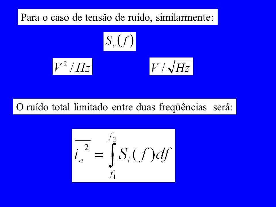 Para o caso de tensão de ruído, similarmente: O ruído total limitado entre duas freqüências será: