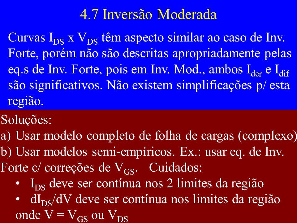 4.7 Inversão Moderada Curvas I DS x V DS têm aspecto similar ao caso de Inv. Forte, porém não são descritas apropriadamente pelas eq.s de Inv. Forte,