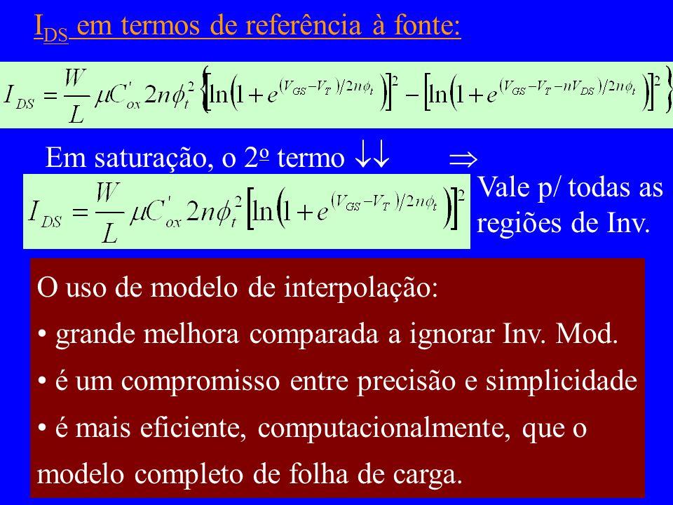 I DS em termos de referência à fonte: Em saturação, o 2 o termo Vale p/ todas as regiões de Inv. O uso de modelo de interpolação: grande melhora compa