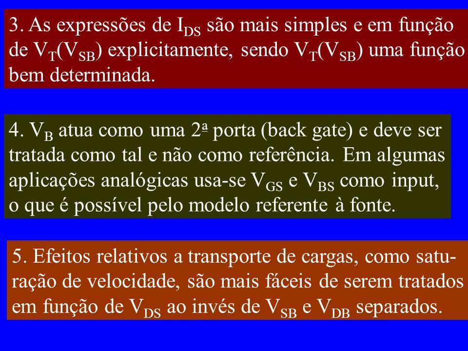 3. As expressões de I DS são mais simples e em função de V T (V SB ) explicitamente, sendo V T (V SB ) uma função bem determinada. 4. V B atua como um