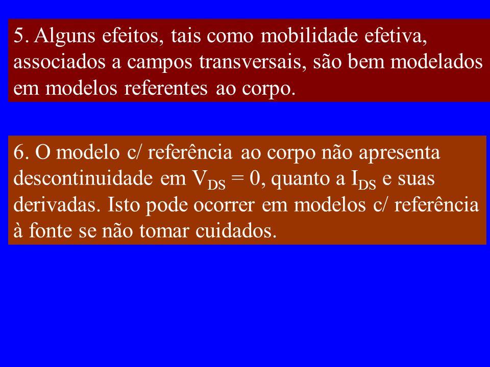 5. Alguns efeitos, tais como mobilidade efetiva, associados a campos transversais, são bem modelados em modelos referentes ao corpo. 6. O modelo c/ re